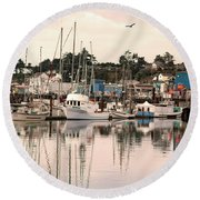 Round Beach Towel featuring the photograph Sunset At The Marina by Diane Schuster