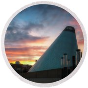 Sunset At The Museum Of Glass Round Beach Towel