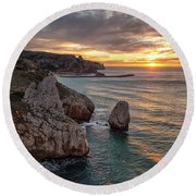 Sunset At The Nest Of The Eagle Round Beach Towel
