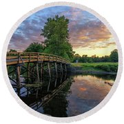 Sunset At The Old North Bridge Round Beach Towel