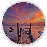 Sunset At The Panajachel Pier On Lake Atitlan, Guatemala Round Beach Towel
