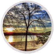 Sunset At The Park Round Beach Towel