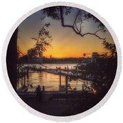 Sunset At The Pier Round Beach Towel by Miriam Danar