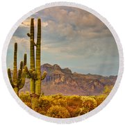Sunset At The Superstitions  Round Beach Towel