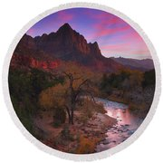 Sunset At The Watchman During Autumn At Zion National Park Round Beach Towel