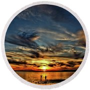 Sunset At The Waters Edge Round Beach Towel