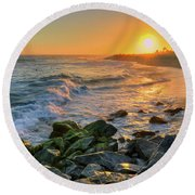 Sunset At The Wedge Round Beach Towel