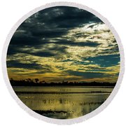 Sunset At The Wetlands Round Beach Towel