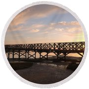 Sunset At The Wooden Bridge Round Beach Towel