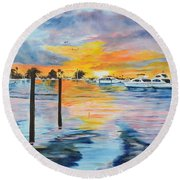 Sunset At The Yacht Club Round Beach Towel