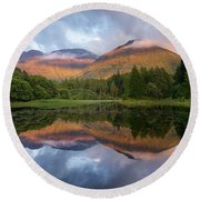 Sunset At Torren Lochan Round Beach Towel