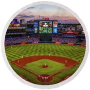 Sunset At Turner Field - Home Of The Atlanta Braves Round Beach Towel