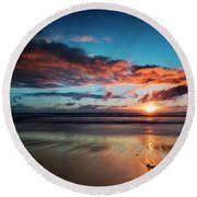 Sunset At Unstad Beach, Norway Round Beach Towel