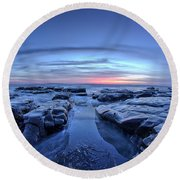 Sunset At Waddell Beach Round Beach Towel