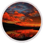 Sunset At Wallkill River National Wildlife Refuge Round Beach Towel