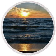 Sunset At Wasaga Beach June 21-2017  Round Beach Towel