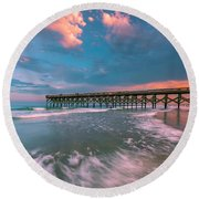 Sunset At Wilmington Crystal Pier In North Carolina Round Beach Towel