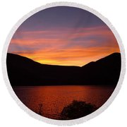 Sunset At Woodhead Campground  Round Beach Towel by Joel Deutsch