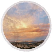 Sunset At Yosemite Round Beach Towel