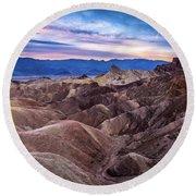 Sunset At Zabriskie Point In Death Valley National Park Round Beach Towel