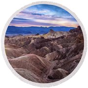 Sunset At Zabriskie Point In Death Valley National Park Round Beach Towel