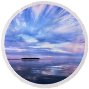 Sunset Awe  Signed Round Beach Towel
