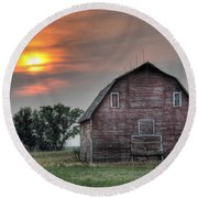 Sunset Barn Round Beach Towel