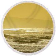 Sunset Beach Aglow  Round Beach Towel