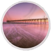 Round Beach Towel featuring the photograph Sunset Beach Fishing Pier In The Carolinas At Sunset by Ranjay Mitra