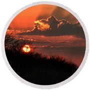 Round Beach Towel featuring the photograph Sunset Behind A Knoll by William Selander