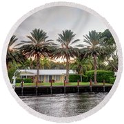 Sunset Behind Residential Palms Round Beach Towel