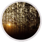 Sunset Behind Row Of Trees In Sihlouette Round Beach Towel