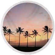 Sunset Behind The Palms Round Beach Towel
