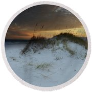 Sunset Behind The Sand Dune Round Beach Towel