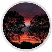 Sunset Behind Two Trees Round Beach Towel
