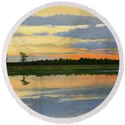 Sunset Ben Jack Pond Round Beach Towel