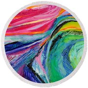 Sunset Beyond The Hill Round Beach Towel