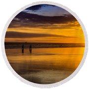 Sunset Bike Ride Round Beach Towel by David Smith