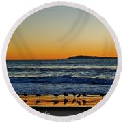 Sunset Bird Reflections Round Beach Towel