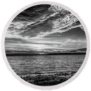 Sunset Black And White Round Beach Towel by Doug Long