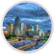 Round Beach Towel featuring the photograph Sunset Blue Glass Reflections Atlanta Downtown Cityscape Art by Reid Callaway