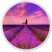 Sunset Blues Round Beach Towel