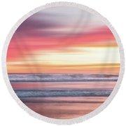 Sunset Blur - Pink Round Beach Towel