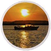 Sunset Boat Round Beach Towel