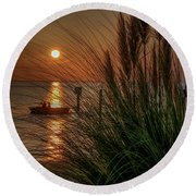 Sunset Boat Ride Round Beach Towel