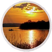 Sunset Boater, Smith Mountain Lake Round Beach Towel
