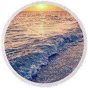 Round Beach Towel featuring the photograph Sunset Bowman Beach Sanibel Island Florida Vintage by Edward Fielding