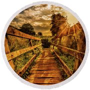 Sunset Bridge Round Beach Towel