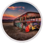 Sunset Bus Tour Round Beach Towel