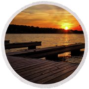 Sunset By The Dock On The Lake Round Beach Towel